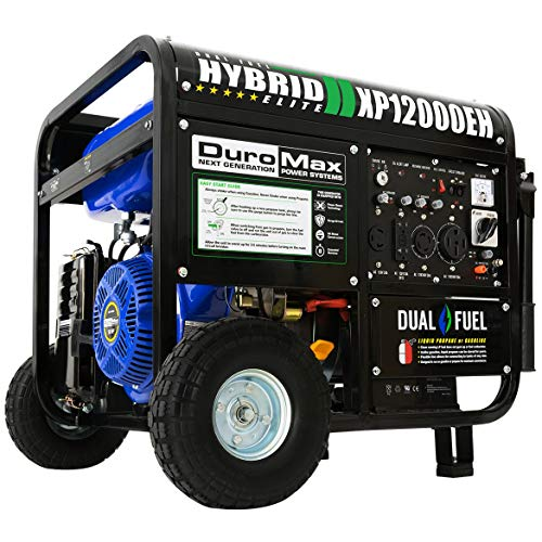DuroMax Hybrid Dual Fuel XP12000EH 12,000-Watt Portable Generator (Renewed)
