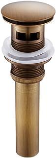 KUNGYO Válvula Desagüe Pop Up Tubo de Lavabo Accesorios Tapón de Baño con Rebosadero Tubería de Bronce Lavadora Grande Pequeña Tamaño General 4.1cm (Bronce Antiguo)