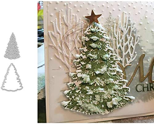 P12cheng Metal Cutting Dies,Christmas Tree Die Cuts Stencil for DIY Scrapbooking Paper Cards Craft Emboss Xmas Card Handicrafts Decor Silver