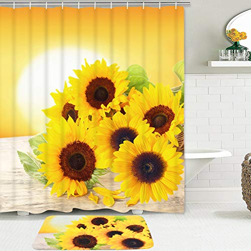 Sunflowers Shower Curtain Set with Non-Slip Bathroom Mat, Sunflower in The Sunset Shower Curtain with 12 Hooks, Durable Waterproof Bath Curtain