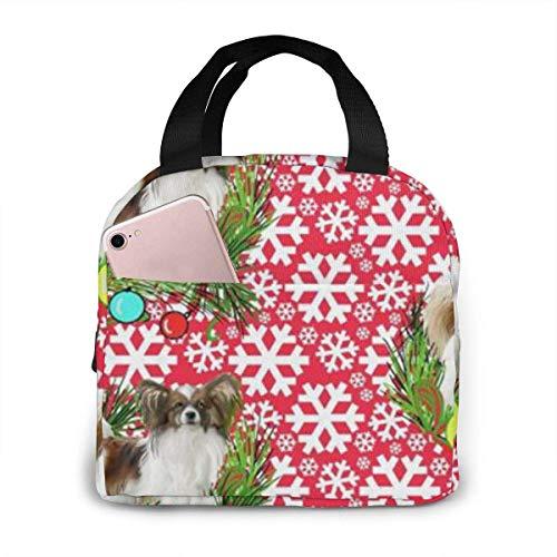 Dog Papillon Christmas Reutilizable Bolsa de almuerzo aislada con cierre de cremallera Cooler Tote Box con bolsillo frontal Bolso para mujeres/hombres Oficina Niños Niñas Escuela