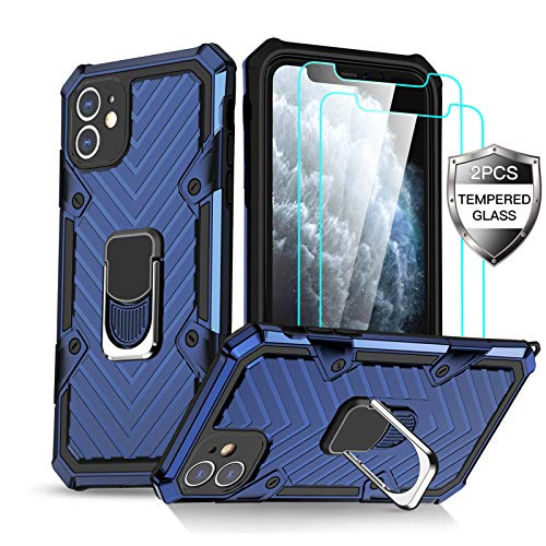 Amytor iPhone 11 Case with [2 x Tempered Glass Screen Protector] [15Ft. Drop Tested ] [ Military Grade ] Protective Phone Case with Magnetic Car Mount Ring Kickstand for iPhone 11 (Blue)