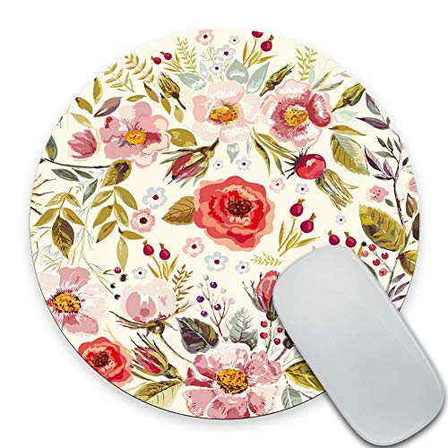 SSOIU Round Gaming Mouse Pad Custom Design, Shabby Chic Floral Mouse Pad Watercolor Abstract Vintage Spring Poppies Flowers Roses Buds Leaves Romantic Print Circular Mouse Pads