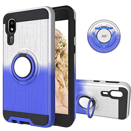 FAWUMAN Coque pour Samsung Galaxy A2 Core,Anti-Glisse 3D en résille Boîtier PC + TPU Double Layer Housse résistant aux Chocs avec Support à Anneau Rotatif à 360 degrés (Bleu-argenté)