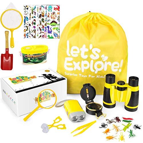 Fernglas Kinder,Outdoor Spielzeug Kompass Lupe Teleskop Entdecker Set für Kinder Draussen Forscherset Spielzeug 33 Stück Spielzeug Set mit Geschenke Spielzeug für Alter 3-8 Jahre alt Jungen Mädchen