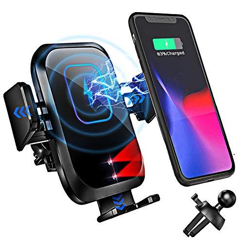 Blsyetec Wireless Charger Auto 15W Kabelloses KFZ Ladegerät Handyhalterung Auto 0.1S Qi Induktion Automatisches Spannarm Handyhalter Schnellladegerät für iPhone 12 11 SE 2 Samsung-Galaxy LG QI Handys