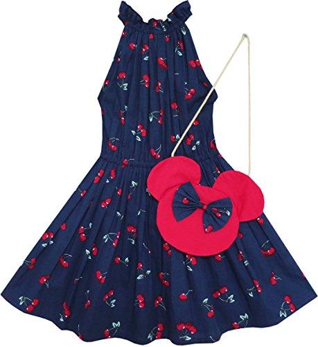 Sunboree Mädchen Kleid Kirsche Obst Drucken Baumwolle Mit Niedlich Handtasche Blau Gr.122