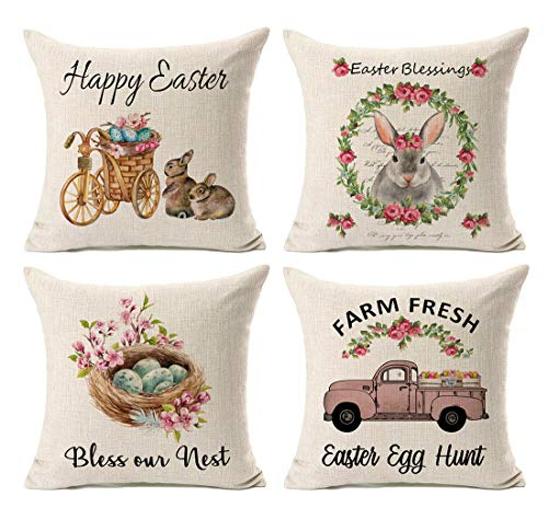 Kithomer Set of 4 Happy Easter Rabbit Egg Throw Pillow Case Vintage Truck Cushion Cover Spring Home Decoration Cotton Linen 18 x 18 Inch