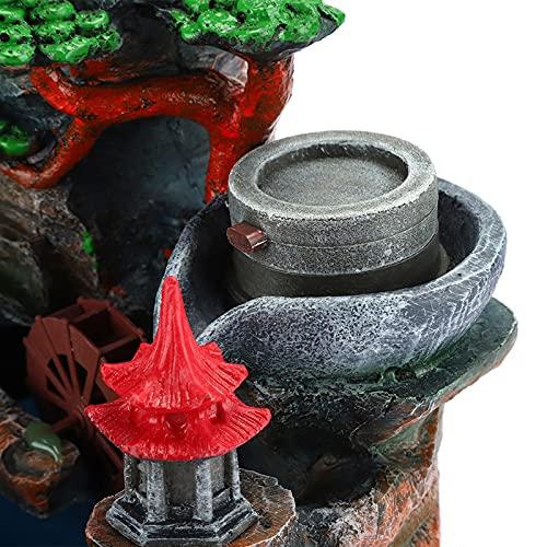Fuente de Escritorio, decoración de jardín de Resina sintética Ligera Colorida, árboles simulados y rocalla para Oficina(Rosado)