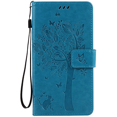 Guran PU Leather Case for Lenovo Moto G4 (5.5 inch) Smartphone Flip Cover Stand Function with Card Slot Wallet Case-blue