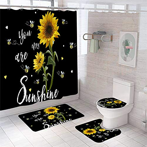 Hewego You are My Sunshine Shower Curtain Set with Non-Slip Rugs Toilet Lid Cover and Bath Mat 4 Pcs Sunflower Bathroom Sets with Waterproof Shower Curtain and 12 Hooks Medium Size