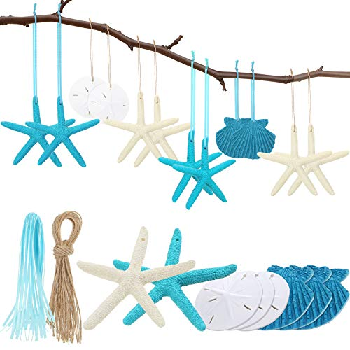 20 Pieces Christmas Resin Seashell Starfish Ornaments Sand Dollar Hanging Decorations with Rope and Blue Ribbon for Beach Wedding Christmas Tree Ornaments DIY Craft Decorations