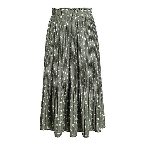 Falda de Mujer deGasa de Cintura Alta Estampado de Flores Floral Casual Suelta para Mujer Falda Plisada Primavera Verano Mujer Mujer