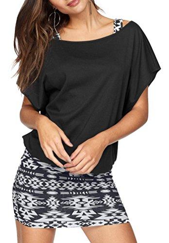 Jusfitsu Damen Ohne Arm Kleid Aus Oversize Shirt 2-in-1(Set 2 tlg) Sommer Minikleid Standkleid Schwarz-Weiß S