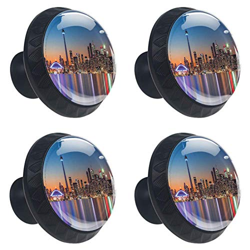 Anna Cowper Landscape Drawer Knobs Pull Handle, Urban Theme A Cityscape View of Toronto and The Skyscrapers at Dusk Digital Print 4 Pcs Cabinet Cupboard Knobs for Kitchen Home Office Cabinet Cupboard