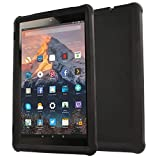 TECHGEAR Coque Bumper Compatible pour Amazon Fire HD 10 (9ème / 7ème Gén, 2019/2017) Coque de Protection Caoutchouc Résistante aux Chocs avec Bords et Coins Renforcés + Film de Protection [Noir]