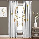Sweet Dreams - Cortinas opacas para dormitorio, diseño de atrapasueños, diseño de estrellas a rayas, fondo de noche Doodle, cortinas opacas para sala de estar, color naranja y amarillo