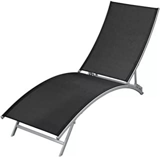 yorten Outdoor Lounge Chair Sun Lounger Steel and Textilene Folding Patio Lawn Recliner Black (55.9