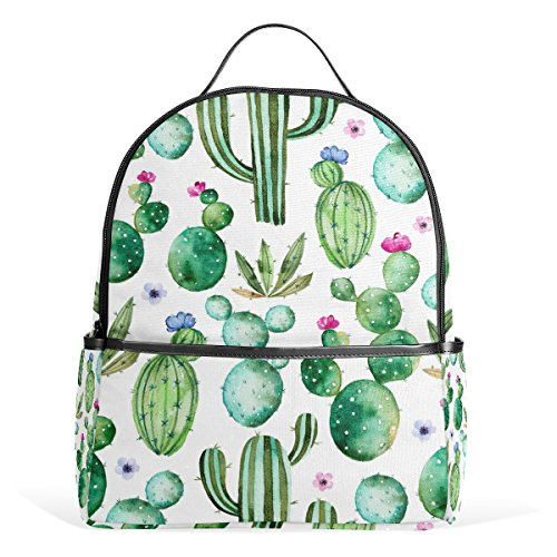 Use4 Cactus Tropical Watercolor Polyester Backpack School Travel Bag