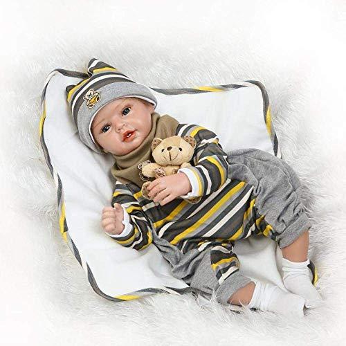 XYSQWZ 22'55cm Reborn Realista Mini Suave Silicona Vinilo Bebé Reborn Boy Doll para Kid House Play Toy Regalos para Niños 1214