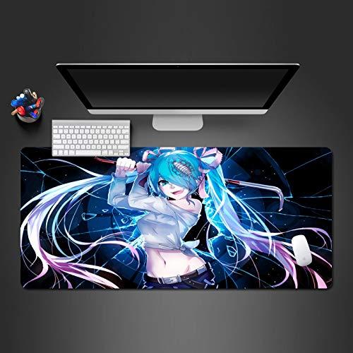 STDNJQ tapete escritorio mousepad Chica anime estrellada 800x300x3mm/31.5x11.8x0.118 inch Alfombrilla De Teclado Impermeable Base Antideslizante alfombrilla de ratón para juegos de computadora comput