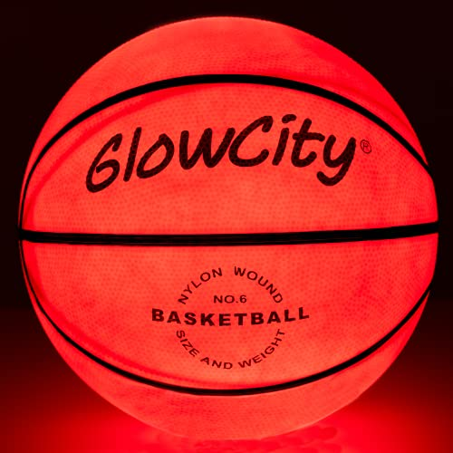 GlowCity Glow in The Dark Basketball - Light Up, Indoor or Outdoor Basketballs for Kids, Teens and Adults with 2 LED Lights and Pre-Installed Batteries
