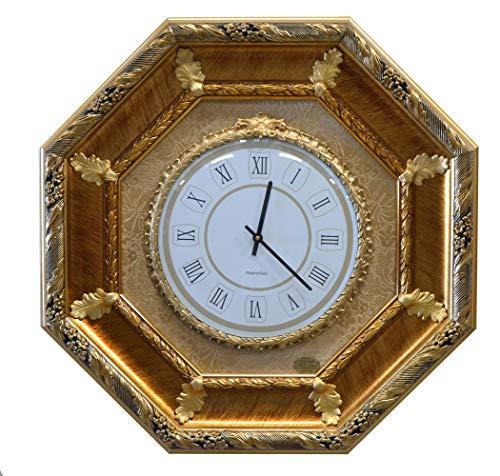 ITALIA CORNICI Wall Clock Wanduhr Klassische Wand Quarz Holzrahmen Dekorationen Wohnzimmer Schlafzimmer Haus, Original Weihnachtsgeschenk Geburtstag Made in Italien Durchmesser 30 cm Abmessungen 65x65