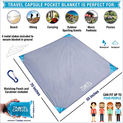 51RIx044gHL - Travel Capsule Large Outdoor Pocket Blanket 55″x70″ - Perfect for Hiking, Camping, Outdoor Sporting Events, picnics and More! Stakes and Carabiner Included. Perfect for Quarantine HANGOUTS!