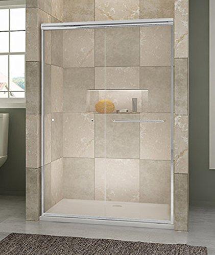 SUNNY SHOWER B020 Frameless Bypass Sliding Shower Doors, 1/4' Clear Glass, Chrome Finish, 48' L x 72' H