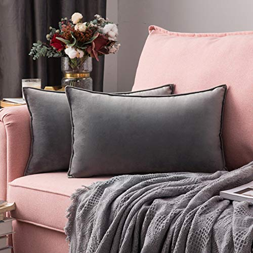 MIULEE Pack of 2 Velvet Soft Decorative Square Throw Pillow Case Flanges Cushion Covers Pillowcases for Livingroom Sofa Bedroom with Invisible Zipper 30cm x 50cm 12x20 Inch Set of 2 Grey