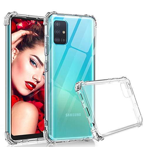 LeYi Funda Samsung Galaxy A71 Carcasa Armor Transparente Silicona Soft Skin TPU Gel Bumper Ultra Slim Case Antigolpes Protector Cover para Movil A71 Clear