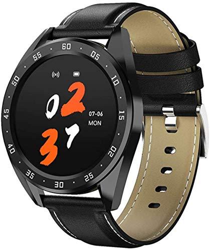 Reloj inteligente con pantalla de 1 3 pulgadas, monitor de actividad física, podómetro, pulsera con mensaje, recordatorio inteligente IP67, resistente al agua, 170 mAh-negro/cuero