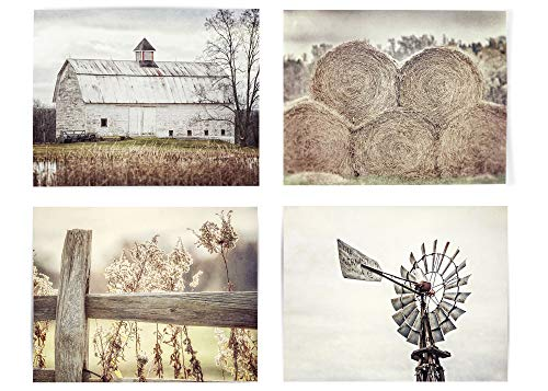 Farmhouse Decor Wall Art Set of 4 Fine Art Prints (Not Framed). Country Rustic Landscape Photographs. Barn Fence Hay Windmill. Beige, Tan, White. (4 11x14 Prints)