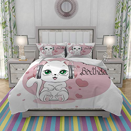 JOLIEAN Duvet Cover Set-Bedding,Happy Birthday Card With Cat,Quilt Cover Bedlinen-Microfibre 220x240cm with 2 Pillowcase 50x80cm