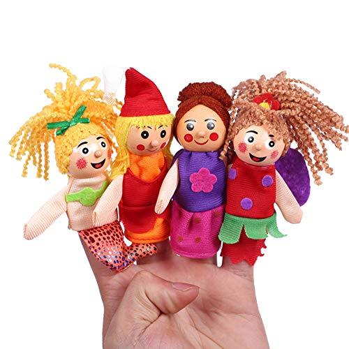 Baywell 4 Pcs Animal de Bande Dessinée en Peluche Doigt Marionnette Doigts Jouet Poupée Bébé Early Éducatif Main Histoire Jouet