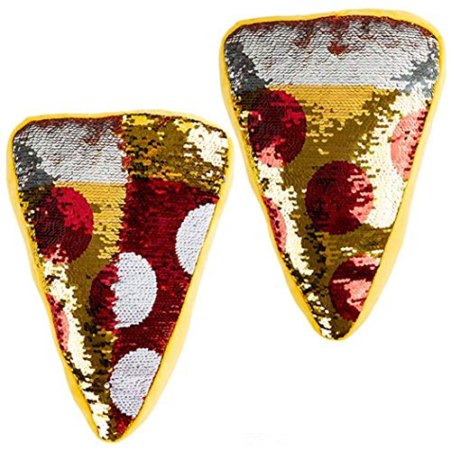 Forest & Twelfth Pizza Slice Throw Pillow 12', Reversible Sequin, Beautifully Colored Plush Pepperoni Pizza Slice Shaped Cushion Plus Finger Puppet