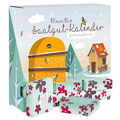 """BIO-Saatgut Adventskalender \""""Bienen-Freund\"""" - 24 Schachteln mit Blumen und Kräutersamen"""
