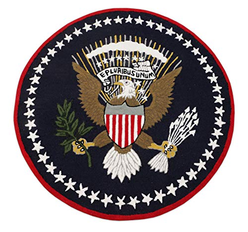 Eagle Blue Pluribus President 4'x4' Round Handmade Tufted 100% Woolen Rugs & Carpet