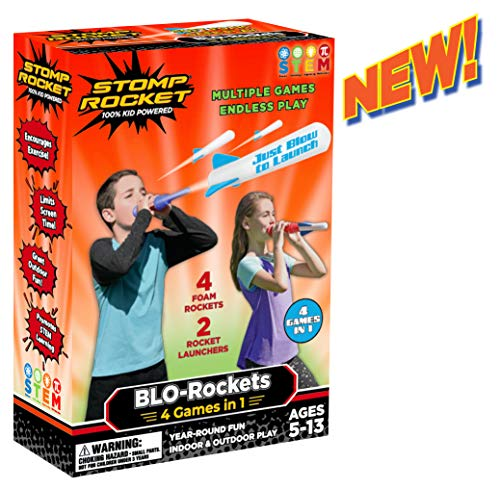 Stomp Rocket New BLORockets  Includes 2 Launchers 4 Rockets  Indoor and Outdoor Rocket Toy Gift for Boys and Girls Ages 5 6 7 8 and Up