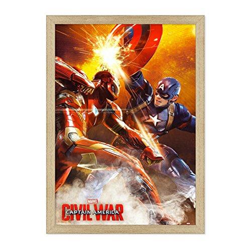 Póster original de Conkrea con marco – enmarcado – Capitán América – Civil War – Tamaño 70 x 100 cm