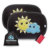 Storch&Born ® Auto Sonnenschutz, 2 selbsthaftende Sonnenblenden für Ihre Autoscheiben mit Andrückrakel und Aufbewahrungstasche, 48cm x 32,5cm | Sonnenschutzblende