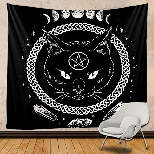 Cat Mandala Hippie Macramé Colgante de pared Boho Decoración Brujería Tapiz