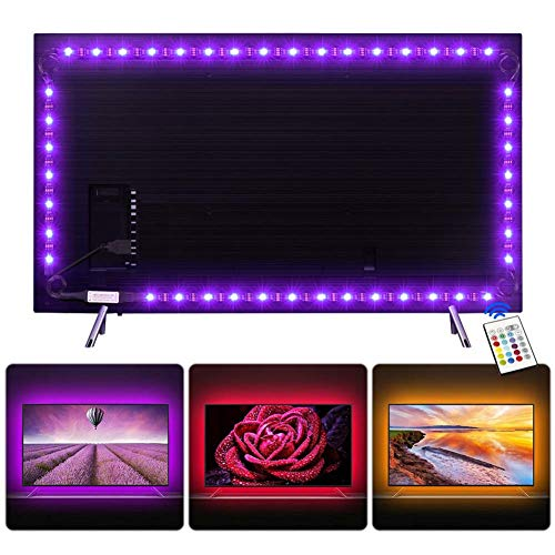 Tira LED 2.2 m, Tiray Ledy Tiras LED Impermeable Tira de LED Retroiluminación LED de TV USB Tira De Luz con Control Remoto de 24 Botones para TV (40 a 65 pulgadas, HDTV) y Monitor de PC