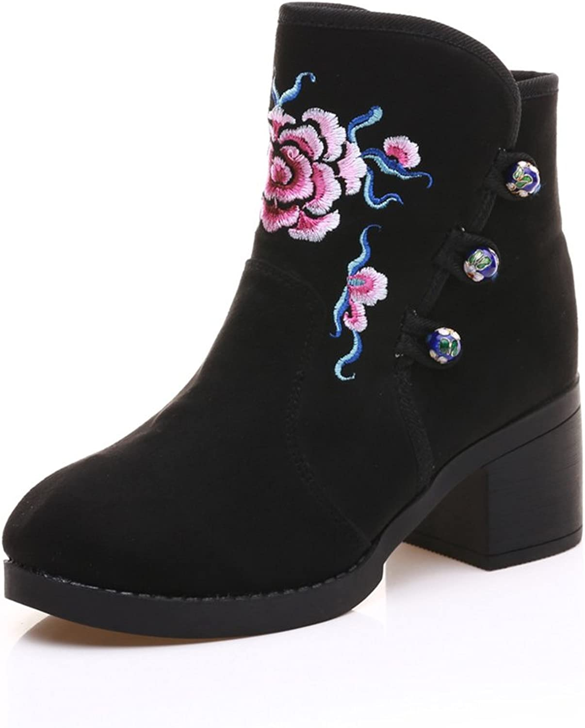Veowalk Winter Women's Cotton Fabric Mid-Calf Boots Ladies Begonia Embroidered Puppy Heel shoes
