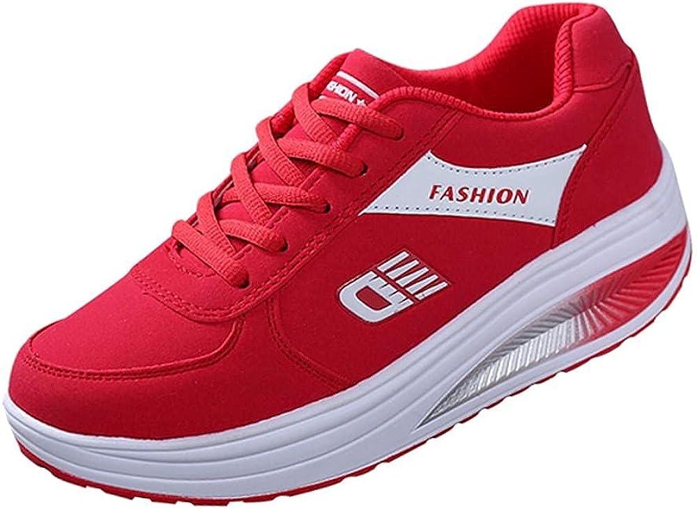 Fashion Fitness Walking Sneaker- RQWEIN Ladies Toning Rocker Shoes Womens Mesh Slip On Wedges Tennis Platform Sneakers