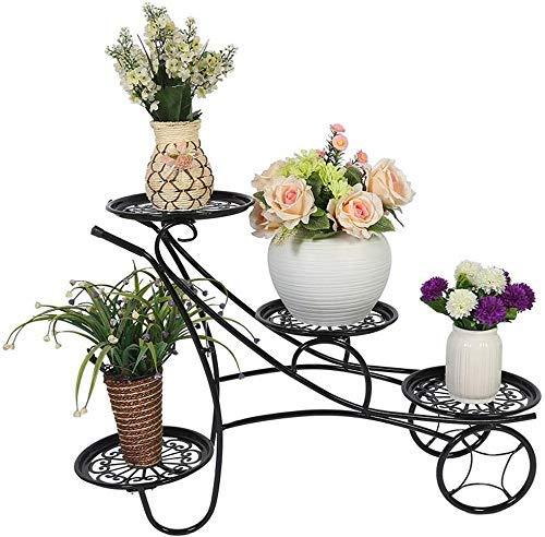 SXRDZ Soporte de Flores con 4 Niveles balcón Hierro Forjado Planta de Piso de pie Stand jardín terraza Flor Pantalla estantería Simple estantería Flor Rdz