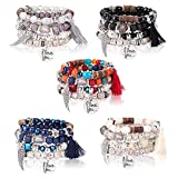 Milacolato 5Sets Bohemian Stretch Beaded Bracelets para Mujeres Niñas Crystal Beaded Strand Bangle Charm Pulseras de Múltiples Capas