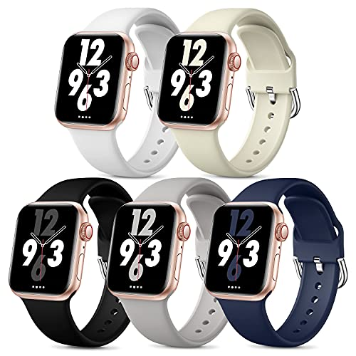 Bravely klimbing 5 Pack Bands Compatible with Apple Watch Bands 38mm 40mm for Women Men, Soft Silicone Sport Replacement Strap Compatible with iWatch Series 6 Series 5 4 3 2 1 SE, M/L