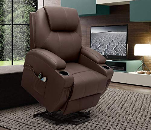 VICTONE Electric Power Lift Recliner Chair PU Leather Sofa Chair for Elderly with Massage and Heat, Side Pockets and Cup Holders (Brown)