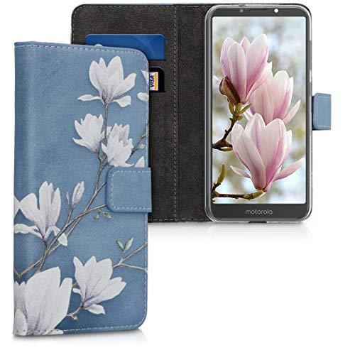 kwmobile Hülle kompatibel mit Motorola Moto E5 - Kunstleder Wallet Hülle mit Kartenfächern Stand Magnolien Taupe Weiß Blaugrau